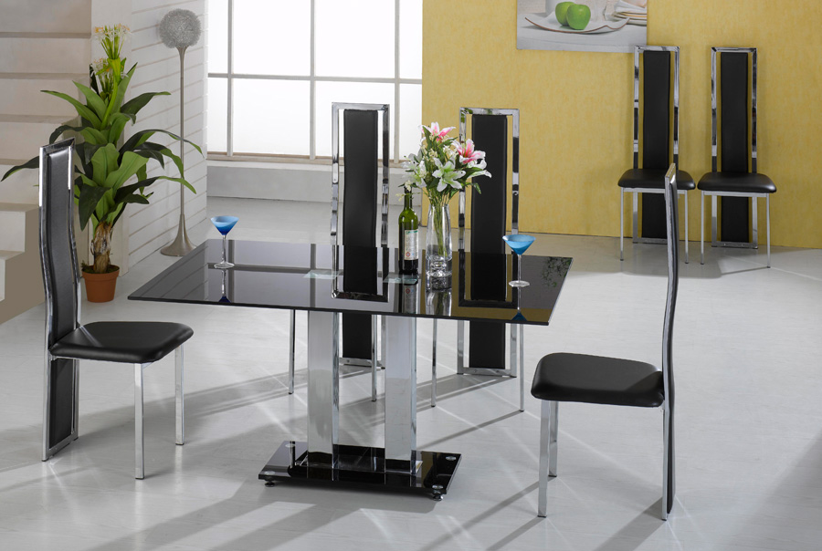 Trinity black glass dining set + 6 chairs
